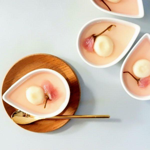 桜シロップの豆乳プリン